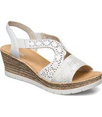 61916-80 sandalette med klack espadrilles creme rieker