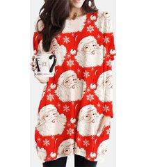 camicetta casual da donna con scollo a manica lunga con stampa natalizia