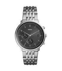 relógio cronógrafo fossil chase masculino fs5489/1pn prateado