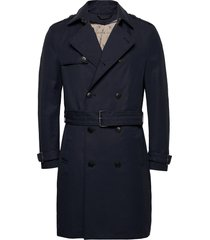 coats woven trenchcoat lange jas blauw esprit collection