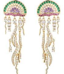 18k goldplated & cubic zirconia jellyfish drop earrings