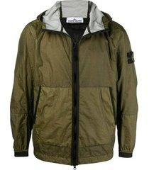 brand-patch lightweight hooded jacket
