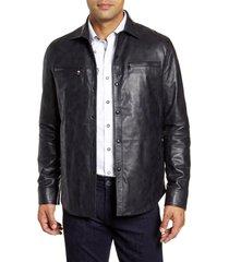 robert graham gable regular fit embossed leather shirt jacket, size large in navy at nordstrom