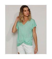 blusa feminina básica com nó manga curta decote v verde
