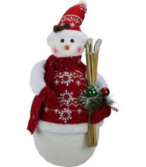 """northlight 20"""" alpine chic sparkling snowman with nordic style santa hat and skiis christmas decoration"""