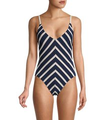 abi stripe one-piece swimsuit