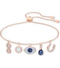 swarovski rose gold-tone crystal protective charm bolo bracelet