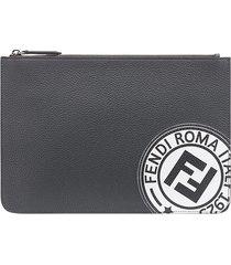 fendi logo stamp zipped wallet - grey