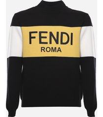 fendi wool sweater with color block insert