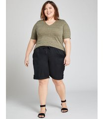 lane bryant women's pull-on bermuda short 14/16 black