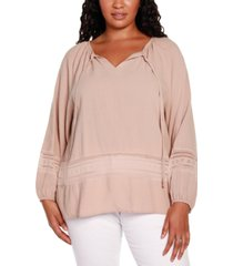 belldini black label plus size long sleeve top with ties at front neck