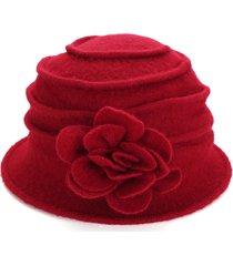 donna cloche di lana feltro con fiore pieghevole cappello a secchiello