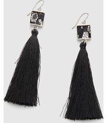 lane bryant women's touch of lace tassel earrings onesz black