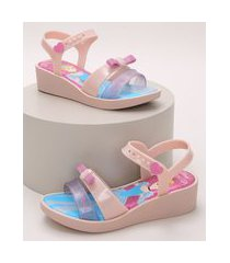 sandália infantil grendene cinderela salto baixo com tiras e laço rosa claro