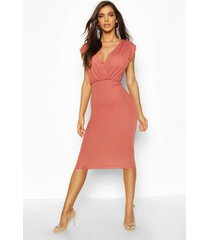 gathered wrap top bodycon midi dress, rose