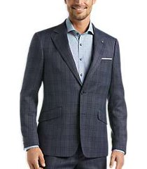 suitor gray & blue plaid slim fit suit