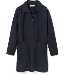 dropped shoulder sleep shirt black linen