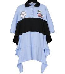 burberry oversized polo shirt dress - blue