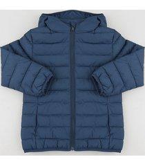 jaqueta infantil puffer com capuz e bolsos azul marinho