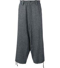 yohji yamamoto tweed drop crotch trousers - grey
