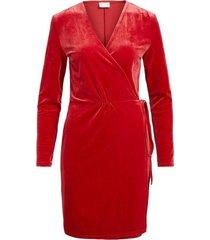 vila vivelvetine l / s dress red