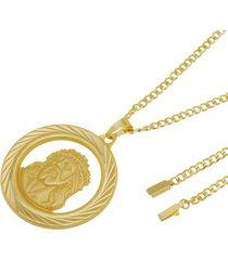 kit medalha face de cristo com corrente tudo jóias grumet com fecho gaveta folheado a ouro 18k