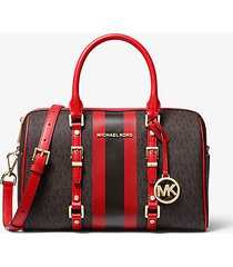 mk borsa a mano bedford travel media con righe e logo - marrone/rosso brillante (rosso) - michael kors