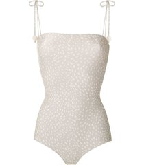 adriana degreas printed straight neck swimsuit - green