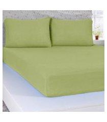 lençol casal de malha 100% algodáo  com elástico verde - panosul