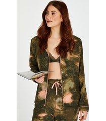 hunkemöller långärmad pyjamastopp med världskarta grön