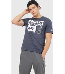 camiseta azul-blanco reebok ufc fan gear text