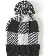lane bryant women's buffalo plaid pom pom hat onesz black