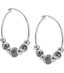 american west decorative bead hoop earrings in sterling silver