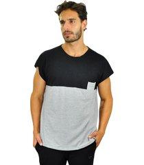 camiseta piquet brohood force cinza e preto