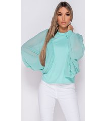 parisian batwing chiffon sleeve high neck blouse wit