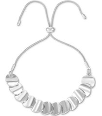 alfani silver-tone rippled disc slider bracelet, created for macy's