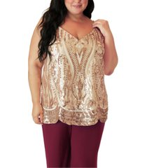 maree pour toi plus size v-neck sequin tank top