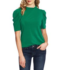 women's cece puff sleeve crepe top, size x-small - green