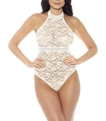 women's one piece clarisa stretch lace halter teddy