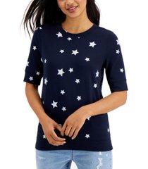 style & co petite printed short-sleeve sweatshirt, created for macy's