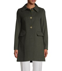 t tahari women's sophie wool-blend a-line coat - brown sugar - size l