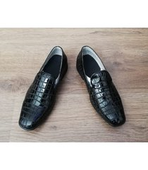 zapatos loafer outfit charol aligator negro