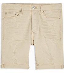mens cream ecru ripped skinny denim shorts