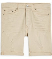mens cream ecru ripped skinny denim shorts