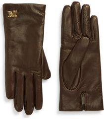 women's max mara logo hardware leather gloves