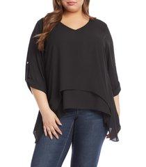 plus size women's karen kane layered asymmetric top, size 2x - black