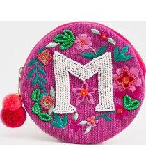 m round initial coin pouch - fuchsia