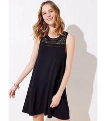loft petite crochet yoke swing dress