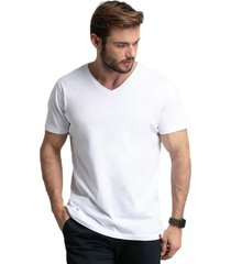 camiseta branca gola v masculina di nuevo 100% algodão