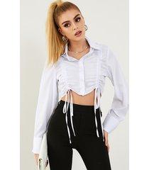 blusa de manga larga con cuello clásico y diseño de botones con cordón yoins